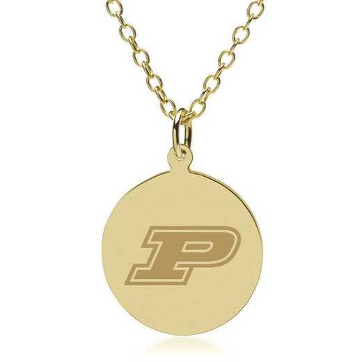 615789245643: Purdue University 14K Gold Pendant & Chain by M.LaHart & Co.