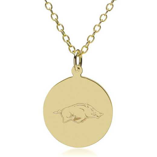 615789270379: University of Arkansas 14K Gold Pendant & Chain by M.LaHart & Co.