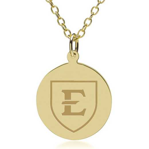 615789428794: East Tennessee State University 14K Gold Pendant & Chain by M.LaHart & Co.