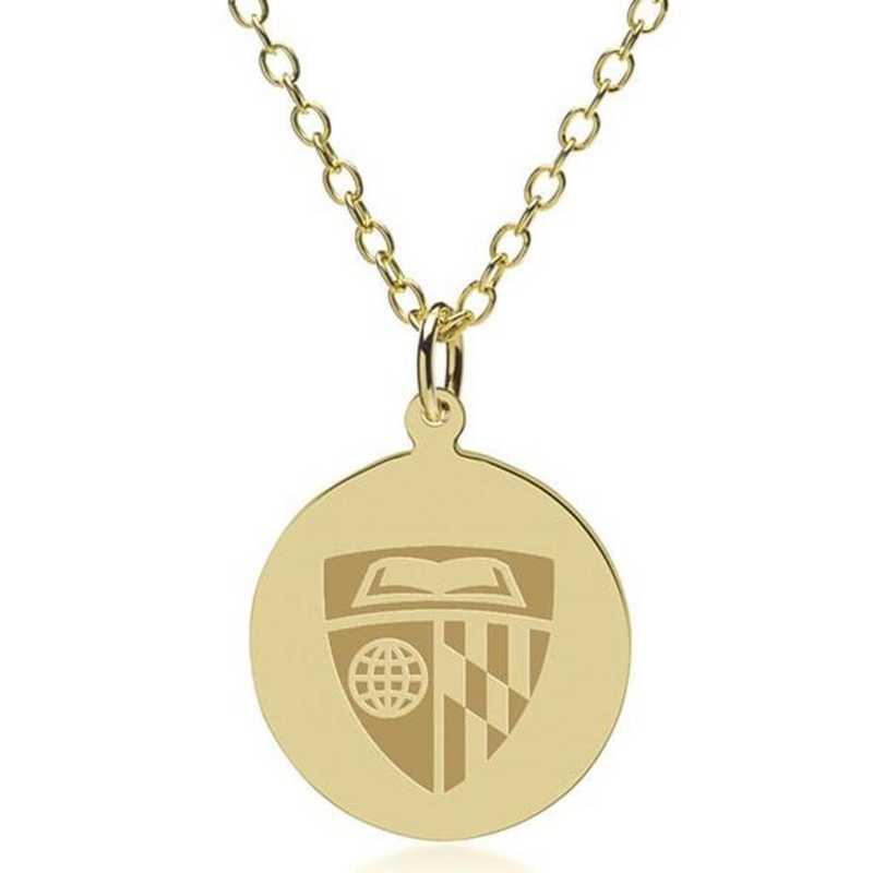615789471318: Johns Hopkins 14K Gold Pendant & Chain by M.LaHart & Co.