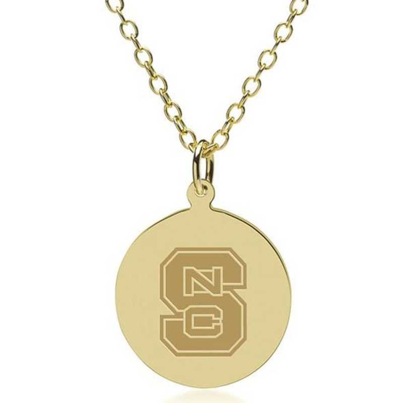 615789643449: NC State 14K Gold Pendant & Chain by M.LaHart & Co.