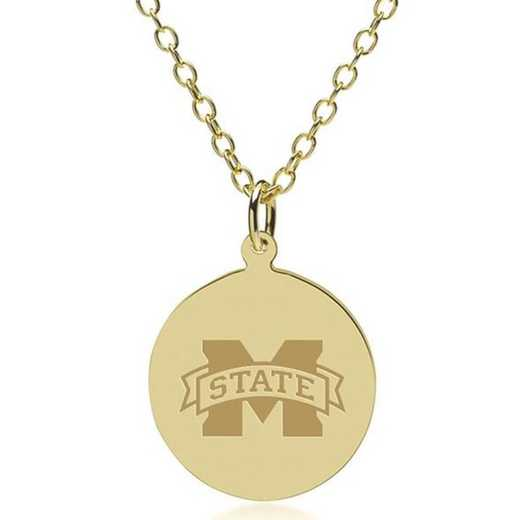 615789657729: Mississippi State 14K Gold Pendant & Chain by M.LaHart & Co.