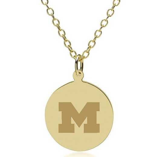 615789719212: University of Michigan 14K Gold Pendant & Chain by M.LaHart & Co.