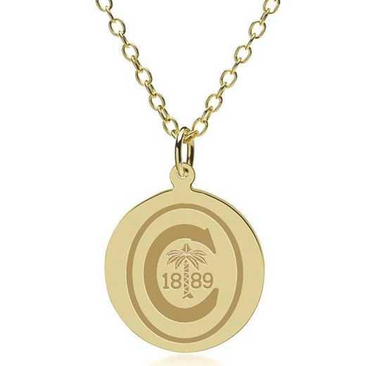 615789857549: Clemson 14K Gold Pendant & Chain by M.LaHart & Co.
