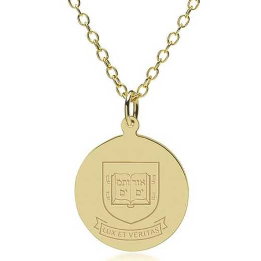 615789973294: Yale 14K Gold Pendant & Chain by M.LaHart & Co.