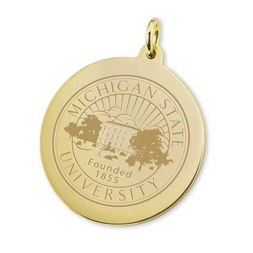 615789020073: Michigan State 18K Gold Charm by M.LaHart & Co.