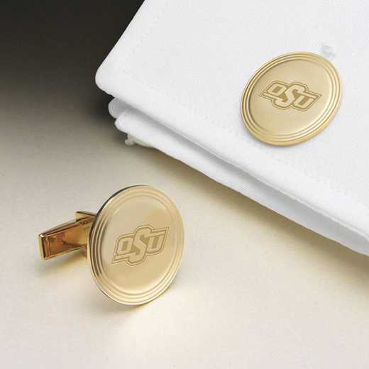 615789957768: Oklahoma St Univ 18K Gld Cufflinks by M.LaHart & Co.