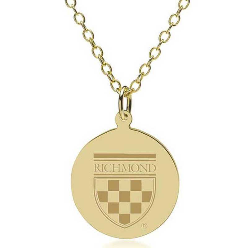 615789039945: University of Richmond 18K Gold Pendant & Chain by M.LaHart & Co.