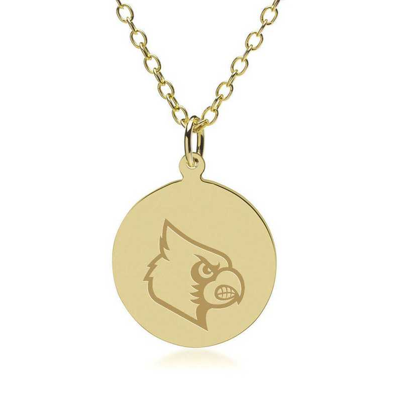 615789080909: University of Louisville 18K Gold Pendant & Chain by M.LaHart & Co.