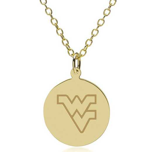 615789093763: West Virginia University 18K Gold Pendant & Chain by M.LaHart & Co.
