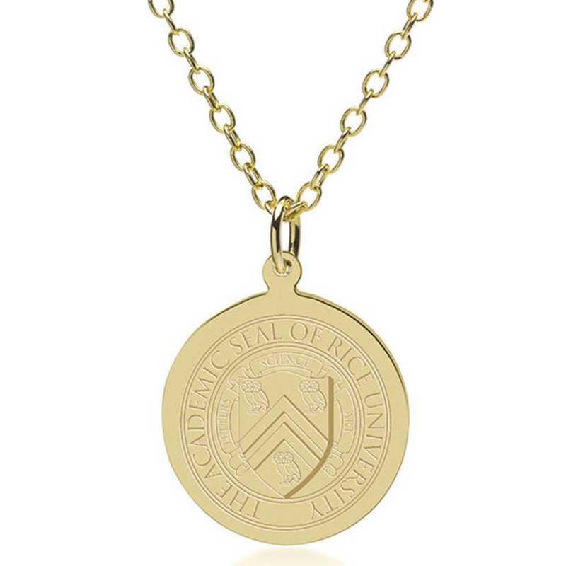 615789095163: Rice University 18K Gold Pendant & Chain by M.LaHart & Co.