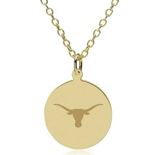 615789127307: University of Texas 18K Gold Pendant & Chain by M.LaHart & Co.
