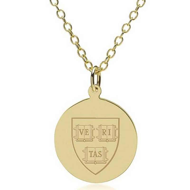 615789151494: Harvard 18K Gold Pendant & Chain by M.LaHart & Co.
