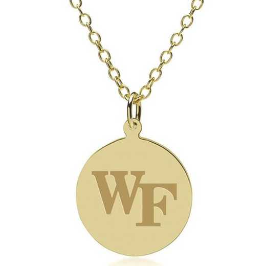 615789154273: Wake Forest 18K Gold Pendant & Chain by M.LaHart & Co.