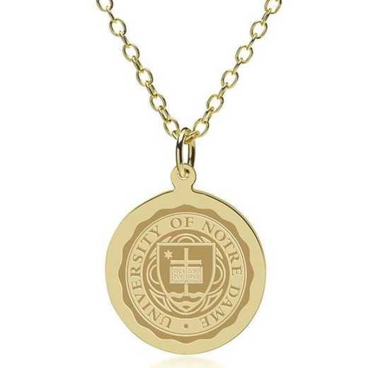 615789167914: Notre Dame 18K Gold Pendant & Chain by M.LaHart & Co.