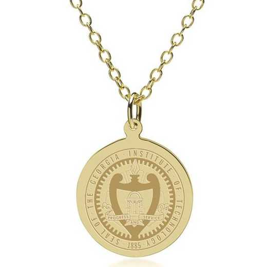 615789241478: Georgia Tech 18K Gold Pendant & Chain by M.LaHart & Co.