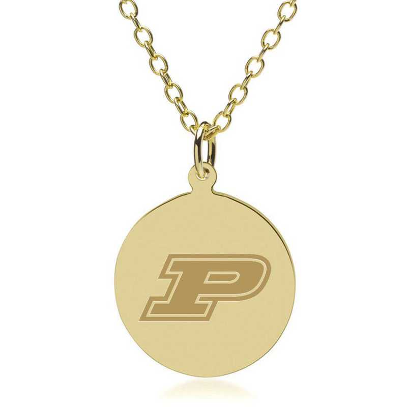 615789254072: Purdue University 18K Gold Pendant & Chain by M.LaHart & Co.