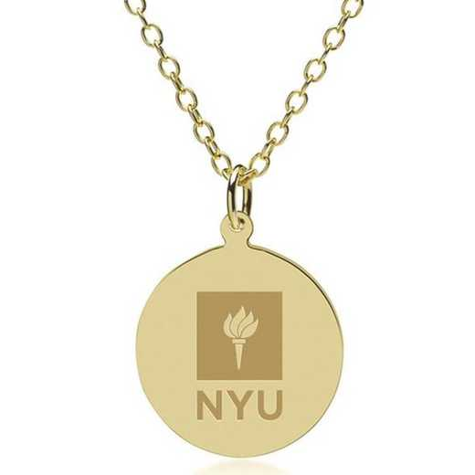 615789285700: NYU 18K Gold Pendant & Chain by M.LaHart & Co.