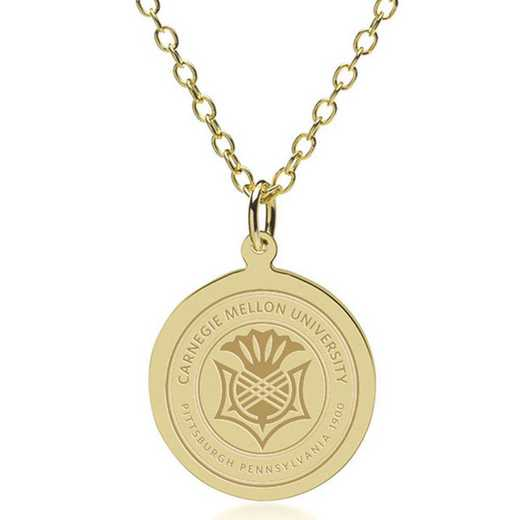 615789392149: Carnegie Mellon University 18K Gold Pendant & Chain by M.LaHart & Co.