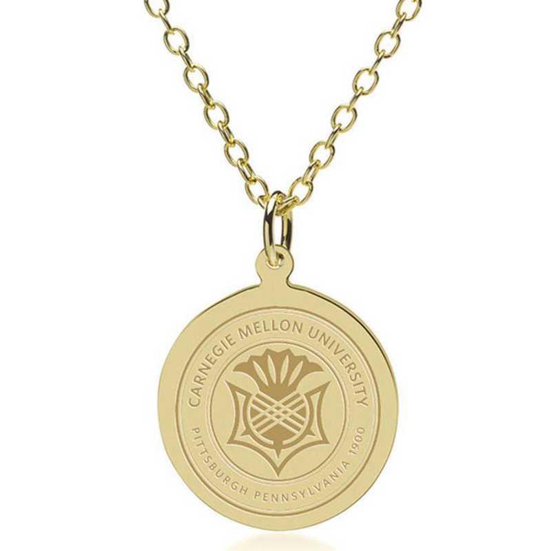 615789392149: Carnegie Mellon University 18K Gold Pendant & Chain by M.LaHart & Co.