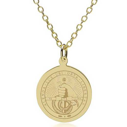 615789399148: Davidson College 18K Gold Pendant & Chain by M.LaHart & Co.