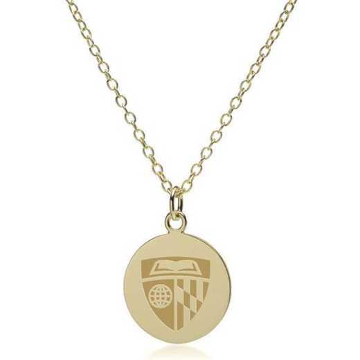 615789423065: Johns Hopkins 18K Gold Pendant & Chain by M.LaHart & Co.