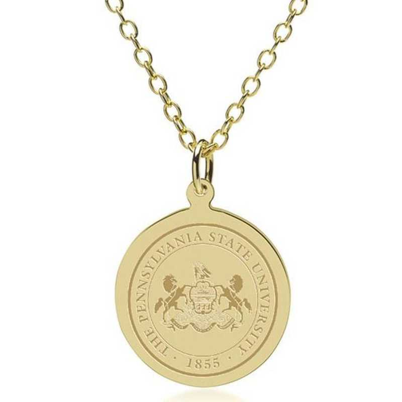 615789436034: Penn State 18K Gold Pendant & Chain by M.LaHart & Co.
