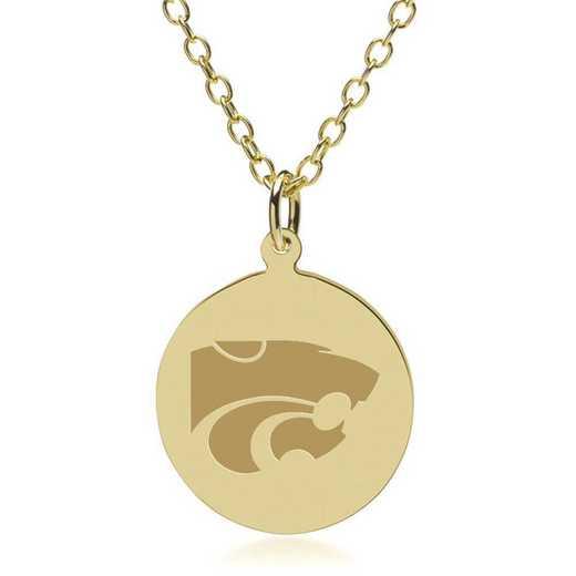615789481324: Kansas State University 18K Gold Pendant & Chain by M.LaHart & Co.