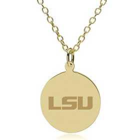 615789526971: LSU 18K Gold Pendant & Chain by M.LaHart & Co.