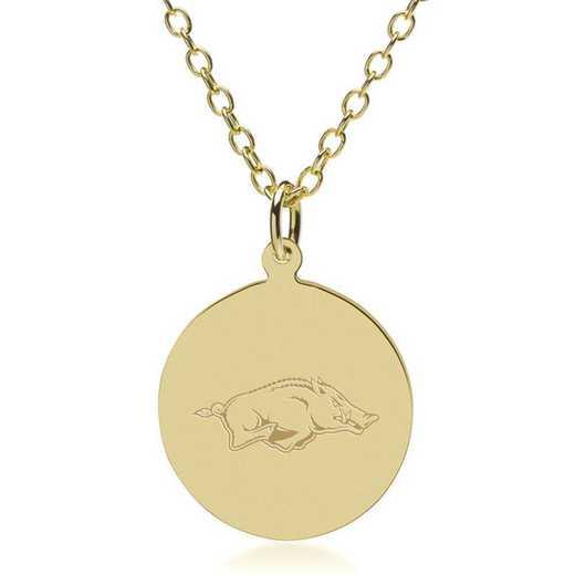 615789549246: University of Arkansas 18K Gold Pendant & Chain by M.LaHart & Co.