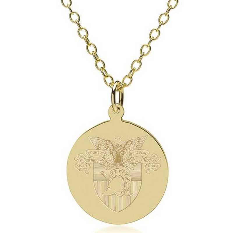 615789599098: West Point 18K Gold Pendant & Chain by M.LaHart & Co.