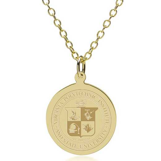 615789603122: Virginia Tech 18K Gold Pendant & Chain by M.LaHart & Co.
