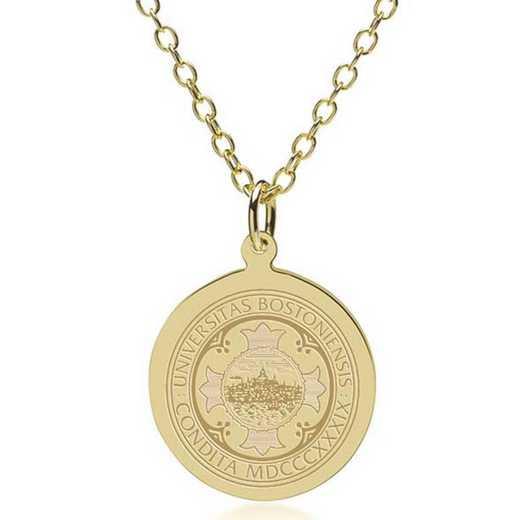 615789621539: Boston University 18K Gold Pendant & Chain by M.LaHart & Co.