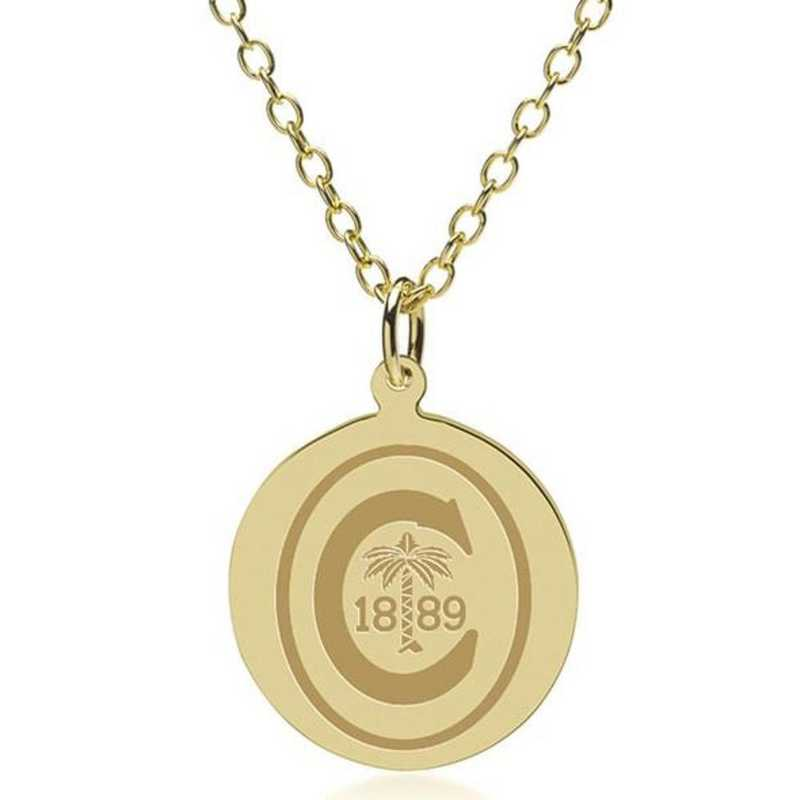 615789622871: Clemson 18K Gold Pendant & Chain by M.LaHart & Co.