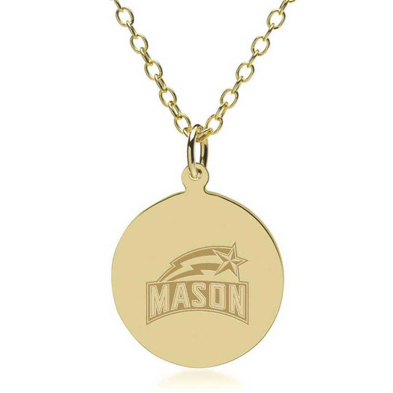 615789631453: George Mason University 18K Gold Pendant & Chain by M.LaHart & Co.