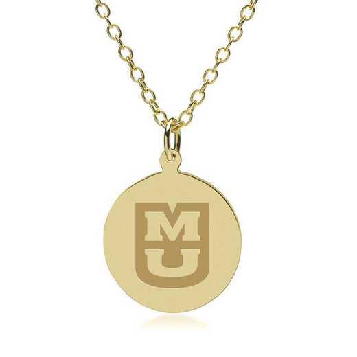 615789644040: University of Missouri 18K Gold Pendant & Chain by M.LaHart & Co.