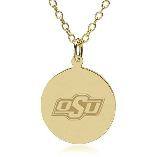 615789677192: Oklahoma State University 18K Gold Pendant & Chain by M.LaHart & Co.
