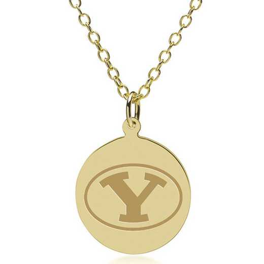 615789724629: Brigham Young University 18K Gold Pendant & Chain by M.LaHart & Co.