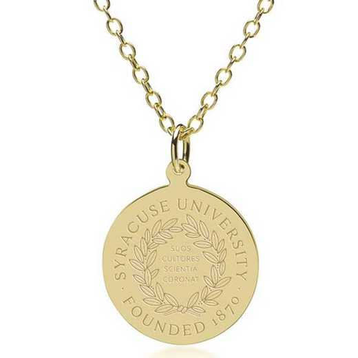 615789733287: Syracuse University 18K Gold Pendant & Chain by M.LaHart & Co.