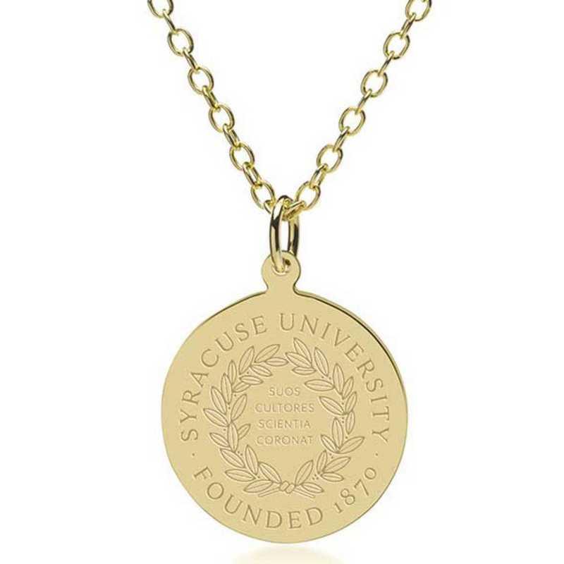 615789733287: Syracuse University 18K Gold Pendant & Chain by M.LaHart & Co.