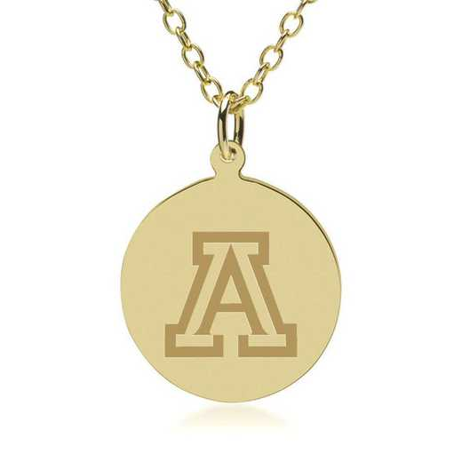 615789749776: University of Arizona 18K Gold Pendant & Chain by M.LaHart & Co.