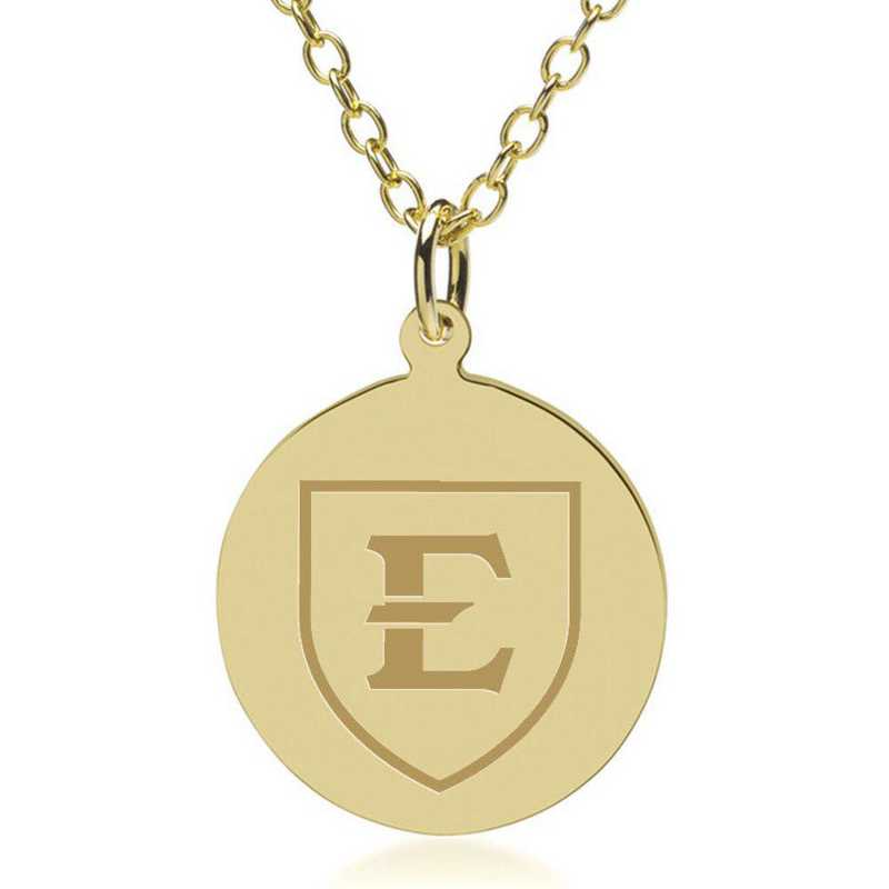 615789794530: East Tennessee State University 18K Gold Pendant & Chain by M.LaHart & Co.