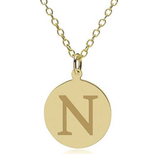 615789810650: Northwestern 18K Gold Pendant & Chain by M.LaHart & Co.