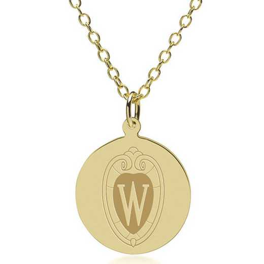 615789819448: Wisconsin 18K Gold Pendant & Chain by M.LaHart & Co.