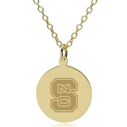 615789829874: NC State 18K Gold Pendant & Chain by M.LaHart & Co.