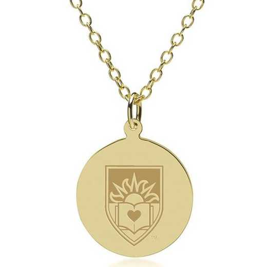 615789868552: Lehigh 18K Gold Pendant & Chain by M.LaHart & Co.