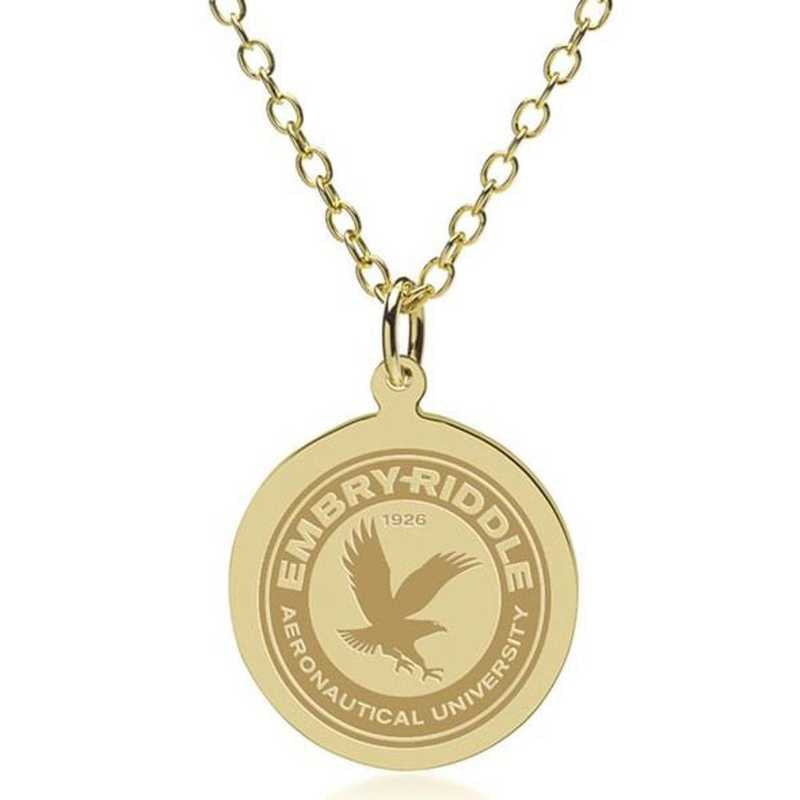615789868903: Embry-Riddle 18K Gold Pendant & Chain by M.LaHart & Co.