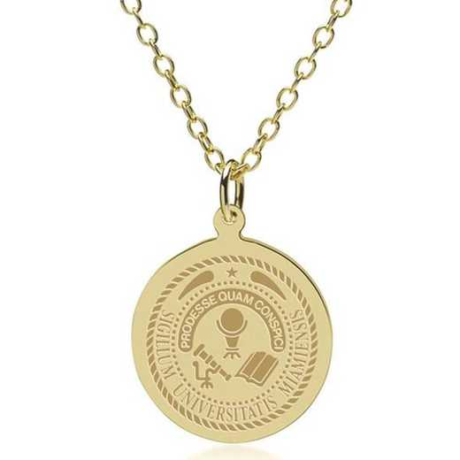 615789911425: Miami University 18K Gold Pendant & Chain by M.LaHart & Co.