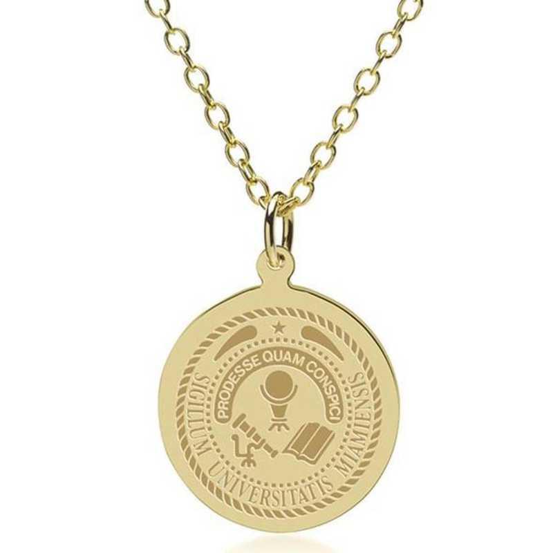 615789911425: Miami University 18K Gold Pendant & Chain by M.LaHart & Co.