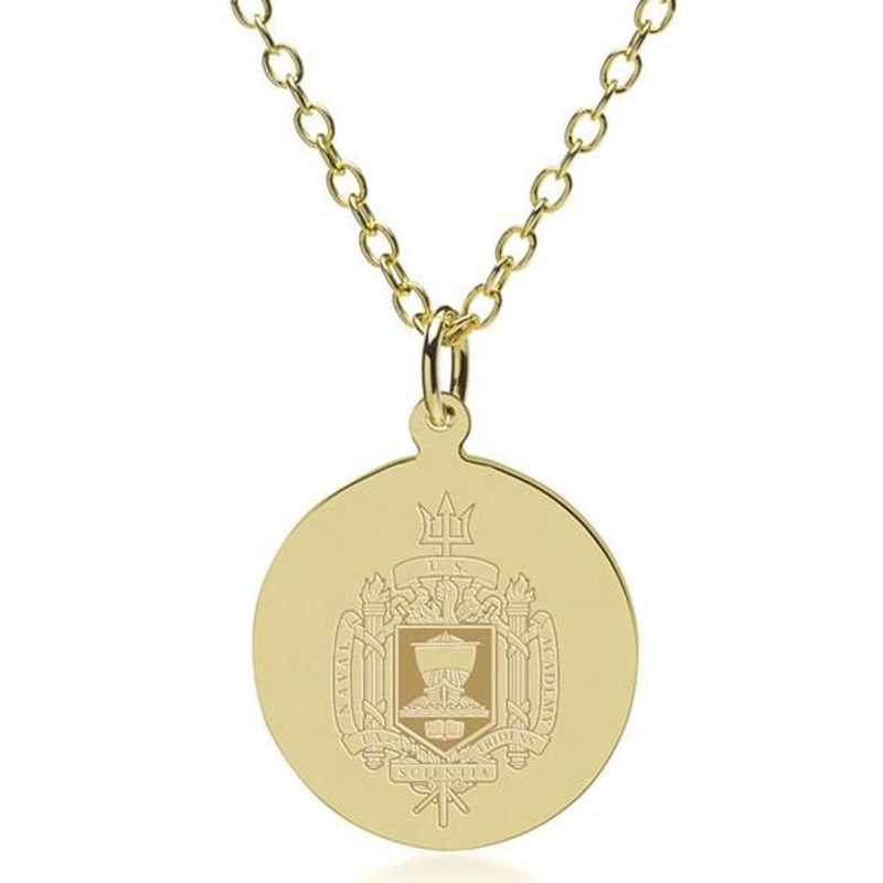 615789941989: USNA 18K Gold Pendant & Chain by M.LaHart & Co.